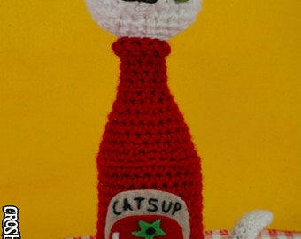 Kitty Catsup - (CUSTOM) crocheted amigurumi condiment cat