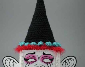 Clown Box crocheted painting/sculpture - PRICE REDUCED