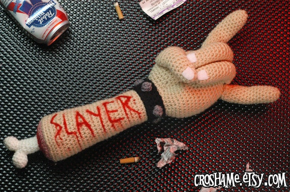 "RESERVED for petalpunkdesigns - Crochetin' in Blood - ""Antigurumi"" dismembered arm with SLAYER carving"