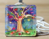 Watercolor Colorful Tree Of Life Hearts Night Background -Includes 925 sterling silver chain - Buy 3 and get 1 more