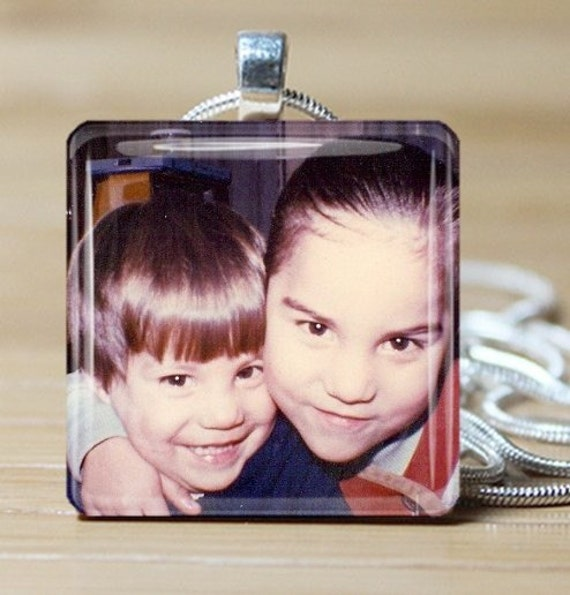 Your Photo Necklace on Glass Tile pendant Includes chain - Buy any 3 and get a 4th