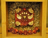 Winged Heart Nature Collage - Mixed Media - OOAK  framed original artwork