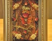 Rosebud Butterfly Angel - Mixed Media Collage - OOAK framed original artwork
