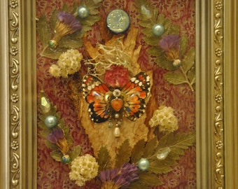 Butterfly Nature Angel - Mixed Media Collage -OOAK  framed original artwork