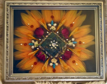 Sunflower- Heart Nature Mandala - Mixed Media Collage - OOAK framed original artowrk