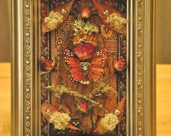 Rosebud Butterfly Angel - Mixed Media Collage - OOAK framed original artwork