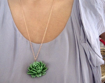 "Victoria - Green Rose Necklace - Vintage Style - Natural brass chain 26"" long"