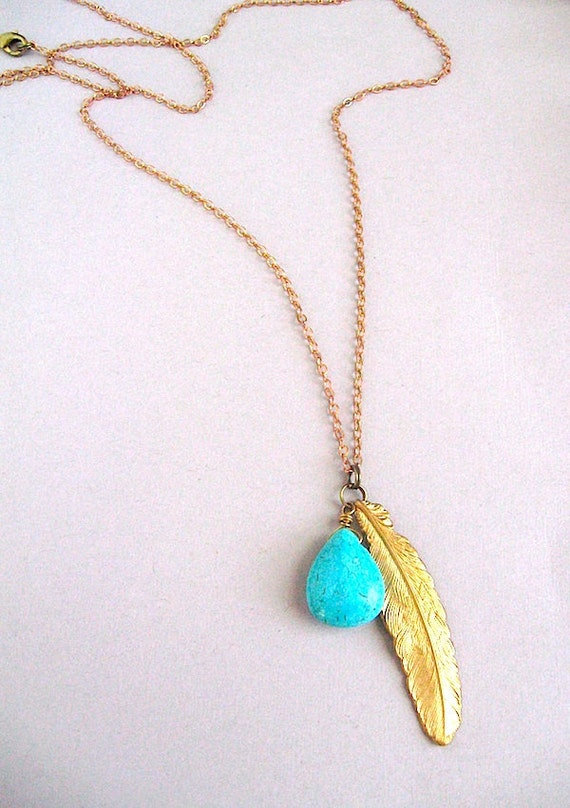 Feather and Stone - Turquoise and Brass Feather Chain Necklace - Southwestern Navajo Inspired