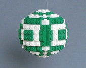 Brick Sphere Christmas Ornament Green White (Rounds)