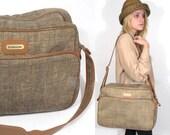 80s Vintage Samsonite Tweed Weekender Bag.