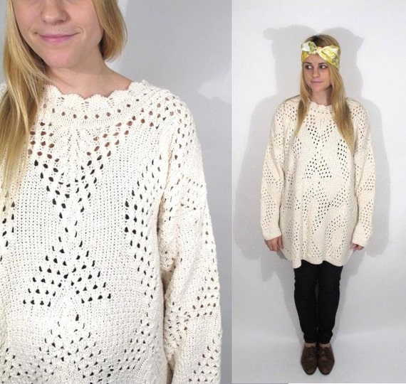 Huge Open Knit Cream Slouchy Oversized Spring Pullover Sweater.