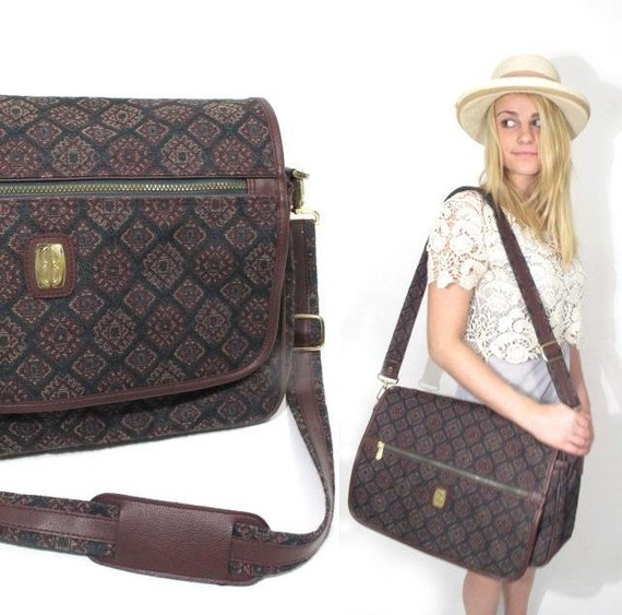 1980s Forest Green and Burgundy Tapestry Weekender Bag.
