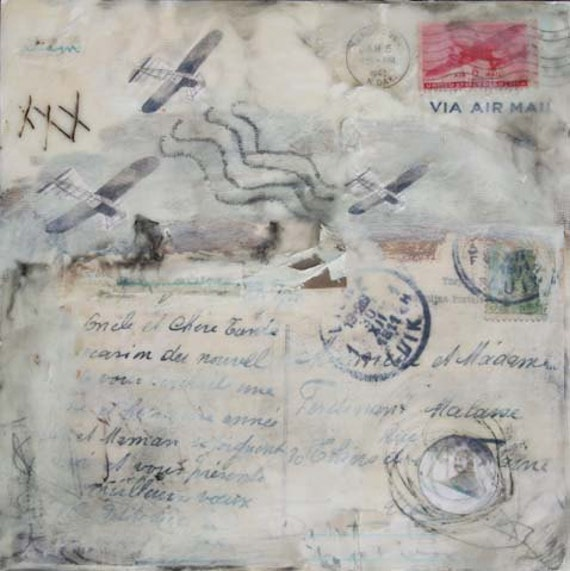 Lost in Flight - Original Encaustic Collage Painting