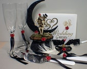 Day of the DEAD Halloween Wedding Cake Topper Funny LOT glasses, knife, guest, book, garter