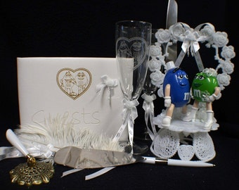 M&M M M candy Wedding Cake topper Lot Glasses knife server guest Book