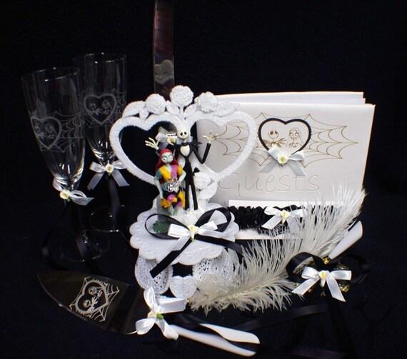 Nightmare before christmas cake topper wedding halloween lot glasses