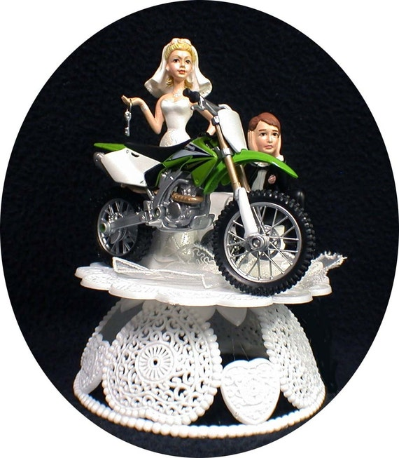 dirt bike wedding cake toppers green kawasaki dirt bike road by yourcaketopper 13535