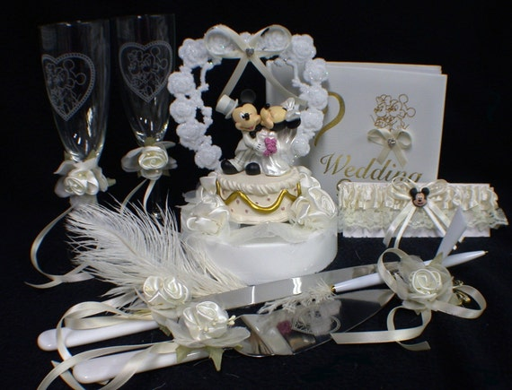 Mickey Mouse Disney Wedding Cake Topper LOT By YourCakeTopper