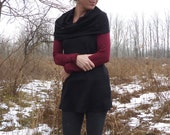 ON SALE - Organic Clothing - Organic Merino Wool Sleeveless Cowl Tunic - Shown in Black - Made to Order