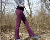 Yoga Pants - Organic Cotton - Shown in Plum with Black Waist - Made to Order