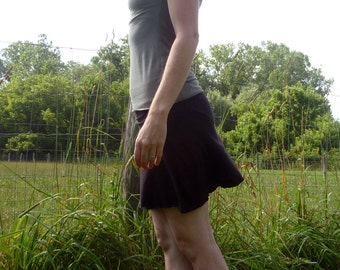 Organic Clothing - Mini Skirt - Organic Cotton - Shown in Black - Made to Order