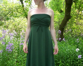Organic Women's Clothing - Midi Versatility Dress - Organic Cotton Bamboo - Shown in Forest - Choose Your Color