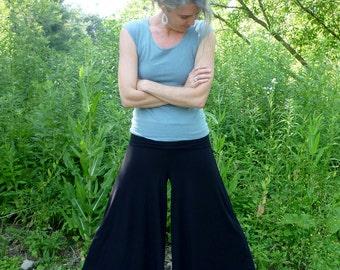 Organic Clothing Super Wide Leg Pants Organic Cotton Bamboo Clothes Maternity Earth Mama Gaia Mother Hippie Skirt Pants Swishy Flowy Dream