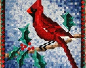 Quilt Pattern - Cardinal Mosaic Wall Hanging Quilt Pattern - Christmas Quilt Pattern