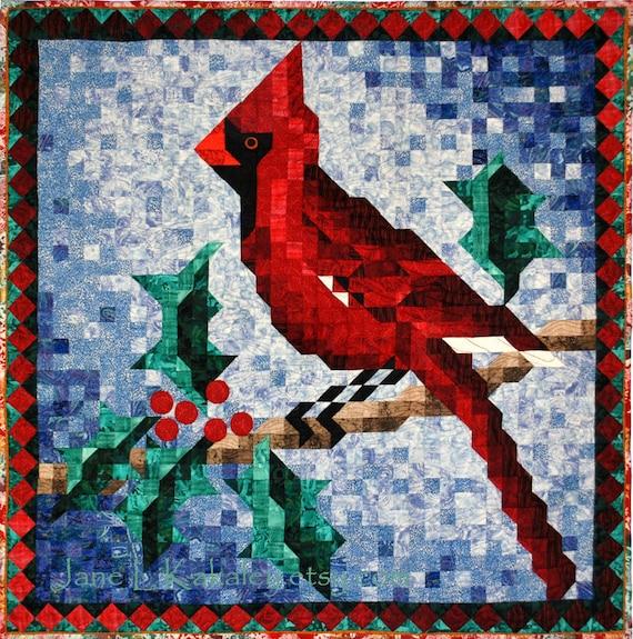 Quilt pattern cardinal mosaic wall hanging