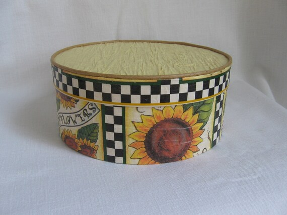 Sunflower Embellished Chipwood Box Gold and Black Embellished Round Chipwood Gift Box