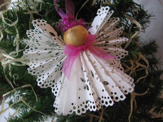 Angel Christmas Tree Ornament White Paper Lace Ribbon Angel Ornament