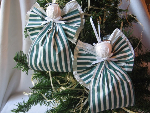 Angel Christmas Ornaments Green and White Paper Ribbon