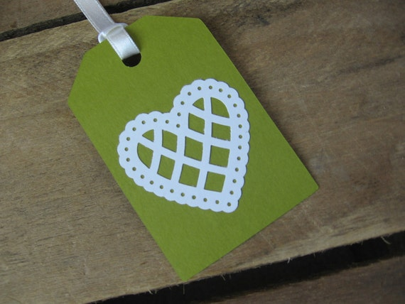 Set of 6 Sage Green with White Heart Gift Tags Wedding Gift Tags Birthday Gift Tags
