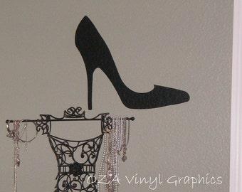 Vinyl High Heel Shoe Wall Decal - Vinyl Lettering Wall Decal Girls Room Decor