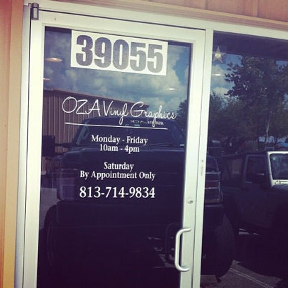 business hours vinyl decal store hours window graphics vinyl With door lettering business