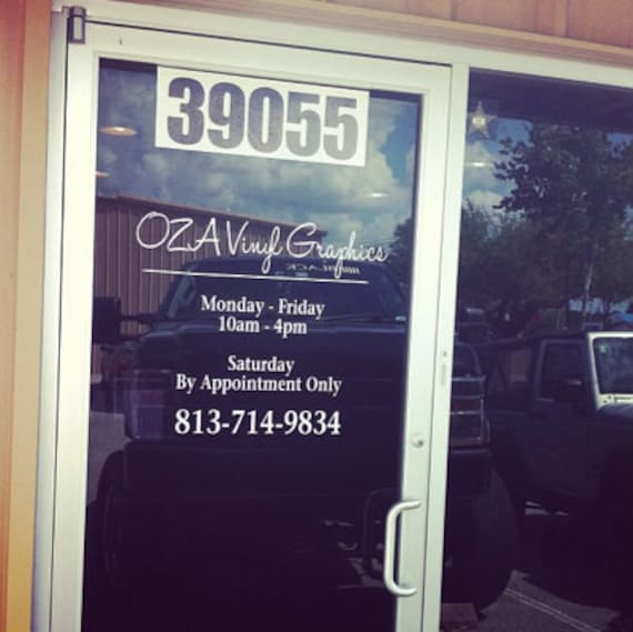 Business Hours Vinyl Decal Store Hours Window Graphics Vinyl - Window stickers for business hours