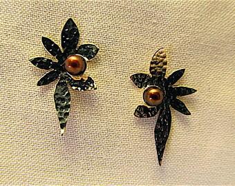 14k chocolate pearl earrings