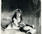 "Original print - hand pulled monotype  ""Girl"" (set of 2)"