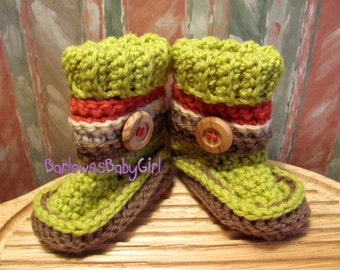 Buggs - Crochet Chartreuse Baby Booties w/ Detachable Striped Band  in Coral, Heather, and Cocoa