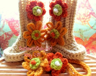 Buggs -  Crochet Baby Booties w/ Flower Detail  and Flower Headband in Heather /Gold,Orange,Lime