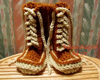 Buggs -   Burnish Brown and Cream Crochet  Lace Up Baby Booties