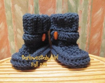 Buggs Classics  - Slate Blue Crochet Baby Booties w/ Wood Butoon Accent -  For Boys