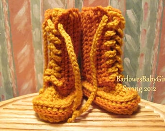 New - Buggs -   Crochet Lace Up Baby Booties - Color Block Palette in Rust/Gold 3-6 Months  - READY TO SHIP