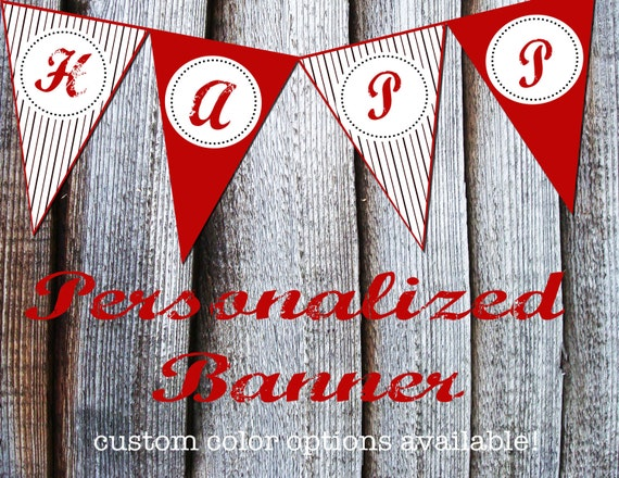 Vintage Inspired Baseball Printable Banner-custom colors available