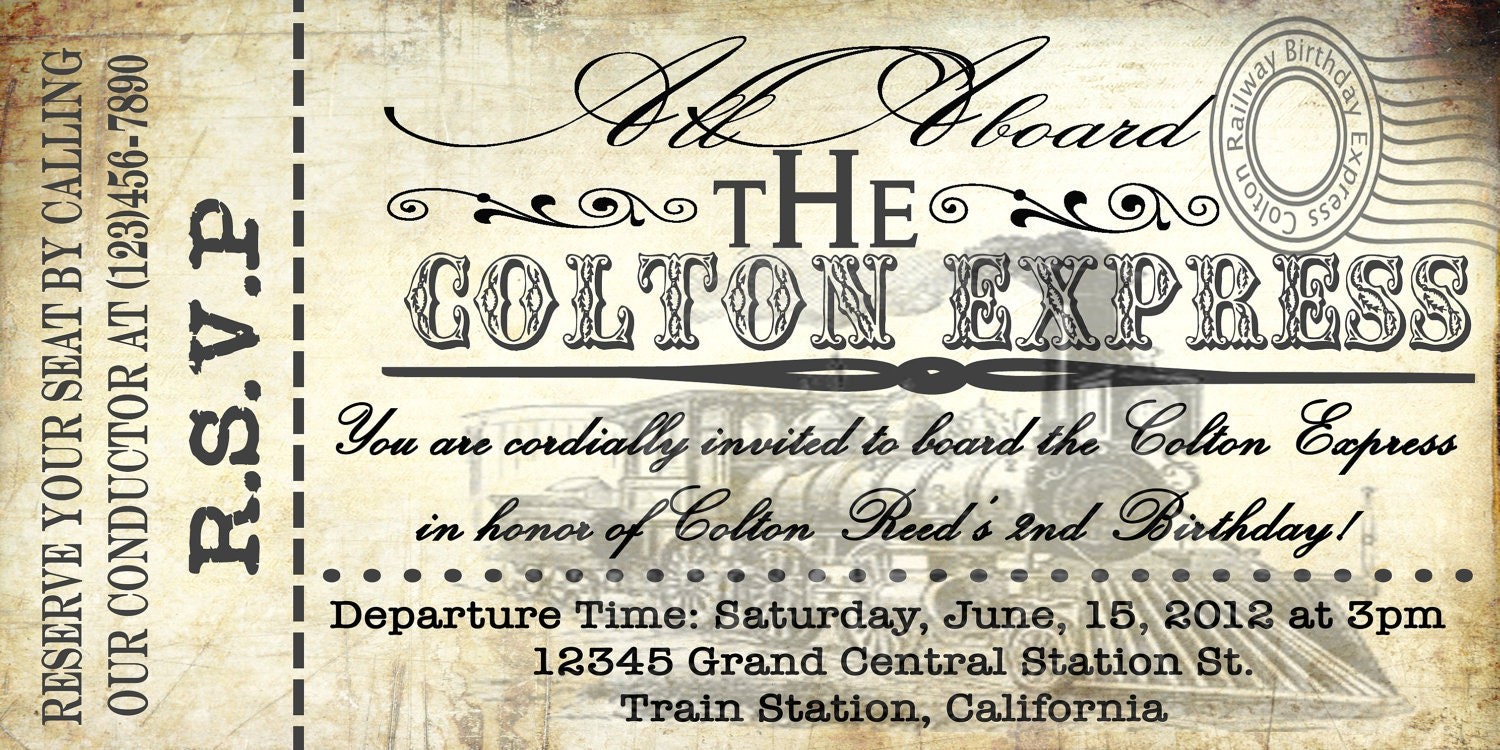 Printable Vintage Train Ticket Invitations by Thelittlehippydippy