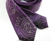 Skinny necktie purple, hand painted neck tie, gift for men - Hand painted accessory OOAK ready to ship