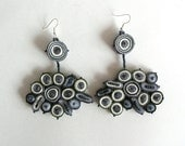 Dangle earrings gray, fabric earrings long, gift for woman, gift for her, textile earrings beaded - Textile jewelry OOAK ready to ship