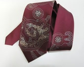 Men necktie red, hand painted neck tie burgundy, gift for men -  Hand painted accessories OOAK ready to ship