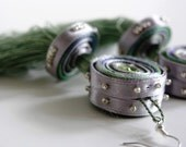Tassel earrings green, fabric earrings brown, long textile earrings, fringe, gift for woman, gift for her - textile jewelry OOAK for order