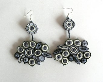Dangle earrings grey, fabric earrings long - Textile jewelry OOAK ready to ship